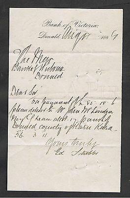 Letter Written In 1887 To The Manager Of Donald Bank Of Victoria.