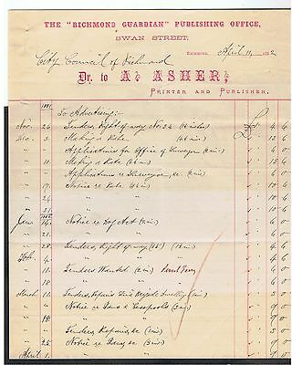 Invoice Issued Bya.asher. Melbourne Printers In 1882 For Goods Sold.