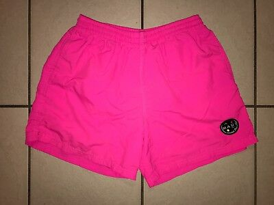 VTG 1980's MAUI AND SONS M SURF SWIM TRUNKS BATHING SUIT NEON HOT PINK SHORTS