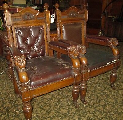 Pair of Magnificent Antique Oak Lion Carved Chairs