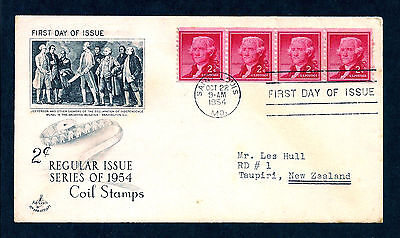 1954 Jefferson Artcraft Coil Strip Of 4 Stamps Fdc First Day Cover