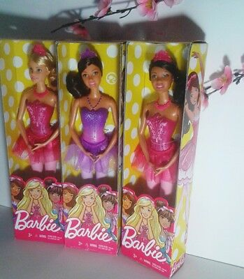 Barbie Ballerina Fairytale Barbie Doll Purple,Pink & Nikki  - lot of 3 dolls