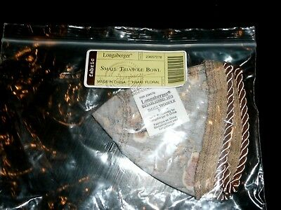 New Longaberger Khaki Floral Fabric Liner Small Triangle Bowl Basket Liner Only