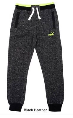 New Medium Boys Puma Fleece Jogger Pants Black