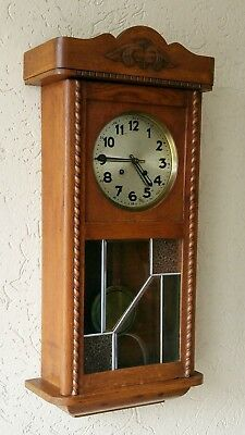 Antique Regulator Wall Clock Holland 1930s Wood Stained Glass Key FREE Shipping*