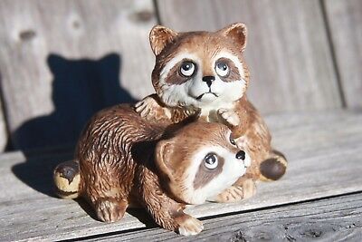 Homco  Baby Raccoons Animal Figurine Home Decor Vintage Decoration
