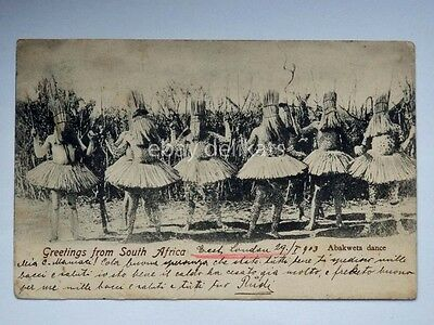 SOUTH AFRICA Abakweta dance old postcard
