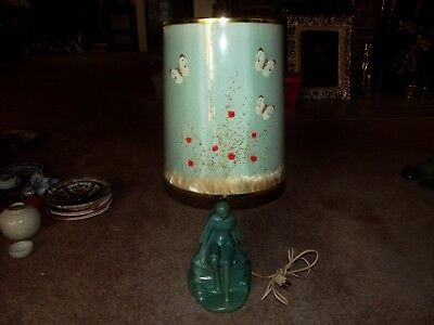 Lamp Light VAN BRIGGLE Pottery Butterfly Shade Blue DayDreamer Lady by the water