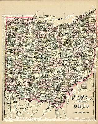 1888 S. A.  Mitchell's County and Township Map of the State of Ohio (Original)