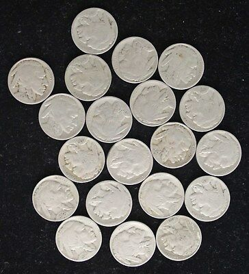 20 Vintage Buffalo Nickels American Native American Chief US Currency Coins NR