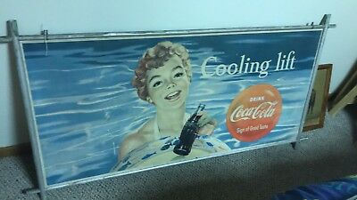 Coca Cola Cardboard Advertising Sign rare double sided vintage soda original