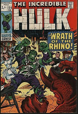 Incredible Hulk #124  Vs The Rhino & The Leader! Nice Glossy Cover Off White Pgs