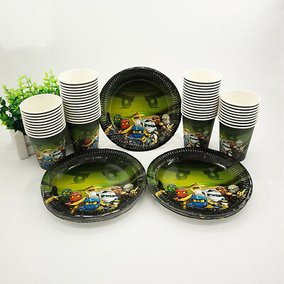 24pcs Ninjago  Children Birthday Party Paper Plate Cup Tableware Decorations