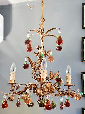 Vintage Italian chandelier with Murano glass fruits & decorative gilded frame