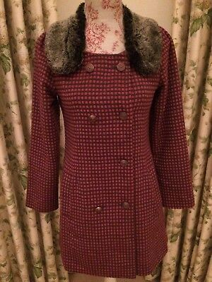 Yumi pink & brown check girl's coat with grey faux fur detachable collar, size S
