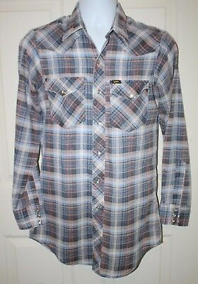 Lee Vintage Mens Western Snap front Shirt M 15 Neck Long Tails Made in USA