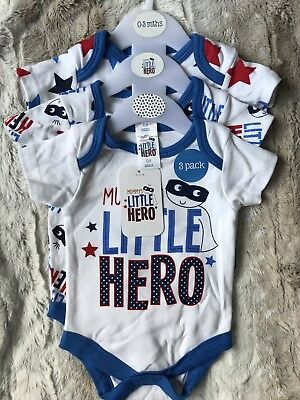 Baby Boys Short Sleeve Body Suits Babygrow Romper BNWT 3 Pack 0-3months