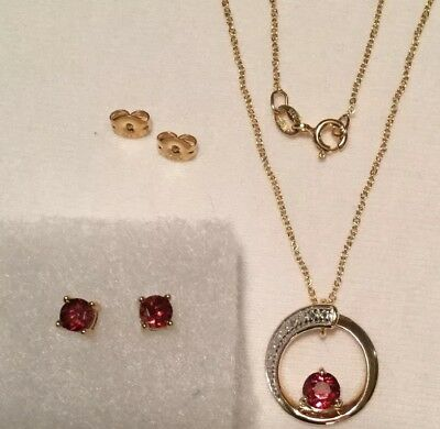 Gemstone Red Necklace and Earring Set Gold Plate over Sterling Silver