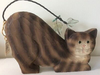 James Haddon Signed Carved Masters Collection Kitty Cat Brown