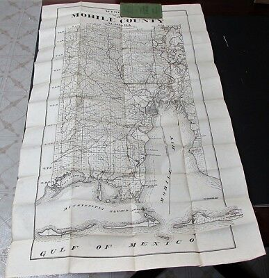 ALABAMA scarce large antique 1907 SECTIONAL POCKET MAP of MOBILE COUNTY