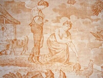 """Antique French c1810 Amber Toile de Jouy Fabric W18""""xL8"""" Quilt Frame Ref Project"""