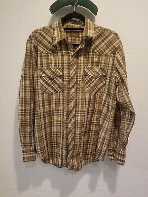 Vintage BJ-R Authentic western shirt Long Tail Form-Fit Mens L Long Sleeve