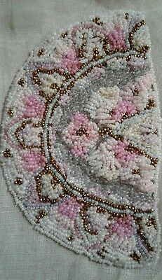 2pc Antique French Early 1900's Finely Beaded  Applique Set ~ Dolls Pink Purple