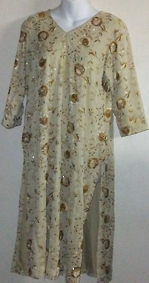Ethnic Embroidery Kameez Shimmery Gold Floral dress Sz M
