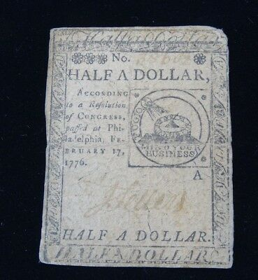 U.s. Continental Currency February 17, 1776 Half Dollar Bank Note