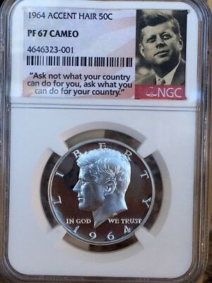 """1964 Accented Hair Kennedy Half NGC PF 67 Cameo * Price Guide $575 * """"Ask Not"""" *"""