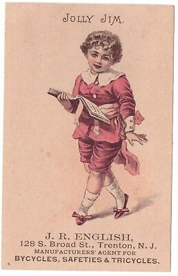 J R English Bicycles Safeties Tricycles VTC Victorian Trade Card Trenton NJ b