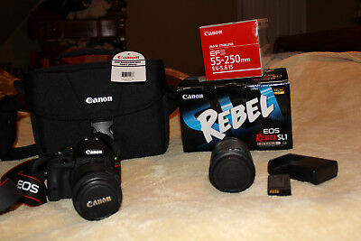 Canon EOS Rebel SL1 /18.0MP Digital SLR Camera  Black with 2 lens 18-55 & 55-250
