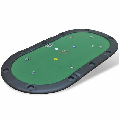 vidaXL Folding Poker Card Casino Table Top Mat 10 Player with Cup Holders Green