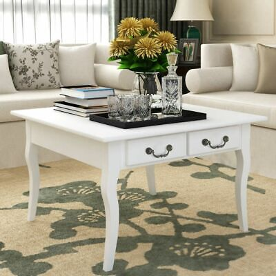 White Coffee Table w/ Drawers Lowline Modern MDF Side Table Lounge Furniture