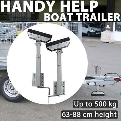 2 pcs Boat Trailer Solid Bar Bow Support Hand Winch Stand 63-88 cm Steel