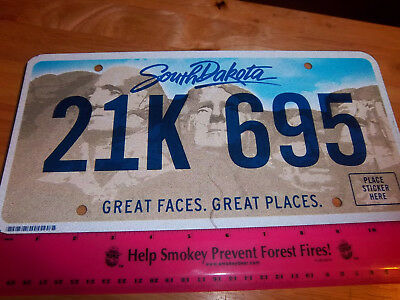 South Dakota Metal License Plate, 2013, Great Faces Great places, 21K 695