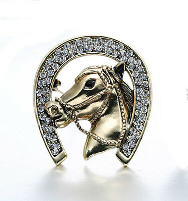 Horse & Western Jewellery Jewelry Sparkling Horse In Horseshoe Brooch Pin Gold