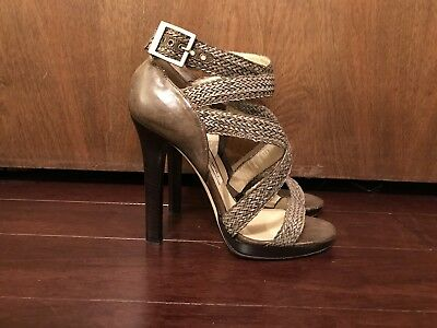 e6a16cde785 NEW JIMMY CHOO Braided Taupe Sandal Heels Size 38 -  300.00