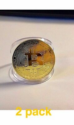 2 Pack Bitcoin Physical Bitcoin Gold Color BTC Cryptocurrency Collectible Coin