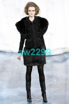 429f49de4390 Nwt Chanel Most Wanted 2010 Runway Fantasy Fur Bolero Jacket Cc Logo 38  Black