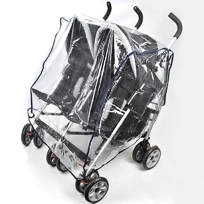 Kids Transparent Universal Double 360 Stroller Rain Cover Sitting Side by Side.