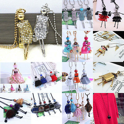 Unique Women Sweater Necklace Crystal Rhinestone Doll GIRL Chain Pendant Jewelry