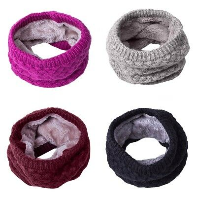 US Adult Kids Warm Winter Scarf Knit Neck Warmer Circle Wrap Cowl Loop Scarves