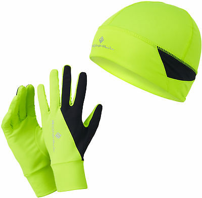 Ronhill Running Beanie Hat and Glove Set - Yellow