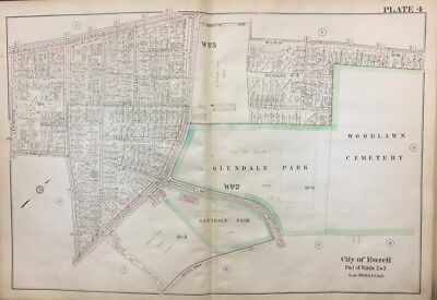 1921 Middlesex County Everett Ma Woodlawn Cemetery Glendale Park Plat Atlas Map