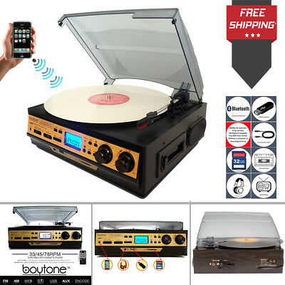Vinyl Player Turntable Record Stereo System Cassete Cd Lp Mp3 Radio Bluetooth