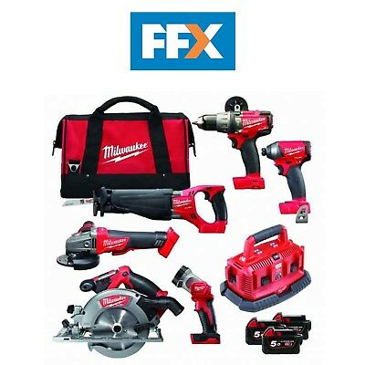Milwaukee M18FPP6B-503B 18v 3x5.0Ah Li-ion Fuel 6 Piece Power Tool Pack