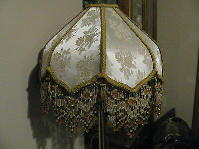 """Victorian French Med Lamp Shade Lotus """" Gold Rose"""" Tassels 6"""" Bead Fringe Look!"""