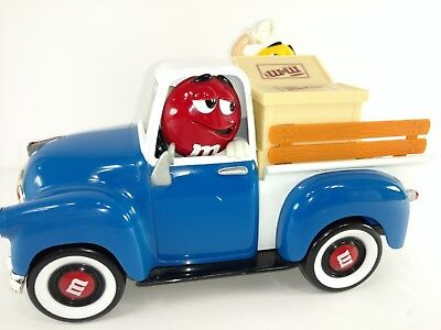 M&M Red and Yellow in Blue Sweet Wheelin' Pickup Truck Candy Dispenser Vintage