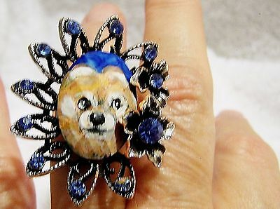 hand painted Pomeranian on faceted crystal adjustable  ring,one size fits most